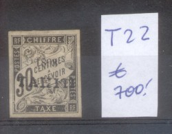 TAHITI COLONIE FRANCAISE YVERT TAXE NR. 22 OBLITERE SOLD AS IS AVEC SURCHARGE AVEC CHARNIERE - Tahiti (1882-1915)