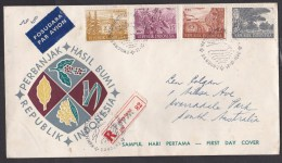 Indonesia: Registered FDC First Day Cover To Australia, 1960, 10 Stamps!, Air + R-label, Flora (traces Of Use) - Indonesien