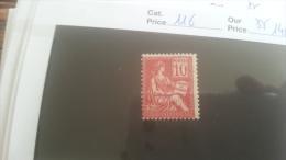 LOT 251485 TIMBRE DE FRANCE NEUF** N�116 VALEUR 140 EUROS