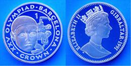 GIBRALTAR 1 C 1991 ARGENTO PROOF SILVER CROWN OLYMPIAD BARCELONA PESO 28,28g TITOLO 0,925CONSERVAZIONE FONDO SPECCHIO - Gibilterra