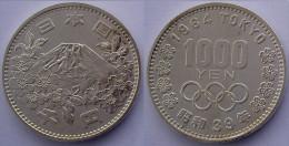 JAPAN 1000 Y 1964 ARGENTO SILVER OLYMPICS GAMES HIROHITO SHOWA MONTE FUJI PESO 20g TITOLO 0,925 CONSERVAZIONE FDC - Giappone