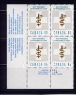 CANADA, 1998, MNH, # 1735i,   THE HEALTH PROFESSIONALS  , LL BlocK,  BRIGHT PHOSPHOR - Blocks & Sheetlets