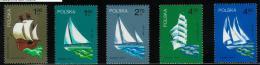 POLAND 1974 FAMOUS SAILING SHIPS SET OF 5 NHM Boats Yachts - Schiffe