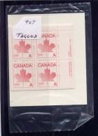 "CANADA 1981, # 907, NON-DENOMINATED ""A"" DEFINITIVE ,  CELLO FR PO,  4  BLOCKS  MNH - Blocs-feuillets"