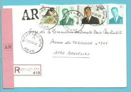 2475+2535+2551+2576 Op Brief Aangetekend Met AR Met Stempel SART-LEZ-SPA - 1985-.. Oiseaux (Buzin)