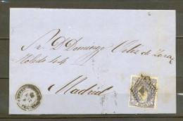 1872, ED. 107, CARTA CIRCULADA ENTRE ARANDA DE DUERO Y MADRID, MATASELLOS ROMBO DE PUNTOS, LLEGADA - 1868-70 Gobierno Provisional