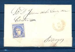1870, ED. 107, ENVUELTA CIRCULADA ENTRE SALAS DE LOS INFANTES Y BURGOS, MATASELLOS ROMBO DE PUNTOS, LLEGADA - 1868-70 Gobierno Provisional