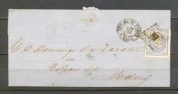 1872, ED. 107, ENVUELTA CIRCULADA ENTRE MEDINA DE POMAR EN BURGOS Y MADRID, MATASELLOS ROMBO DE PUNTOS, LLEGADA - 1868-70 Gobierno Provisional