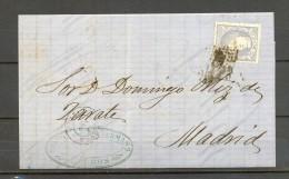 1871, ED. 107, CARTA CIRCULADA ENTRE  BURGOS Y MADRID, MATASELLOS ROMBO DE PUNTOS, LLEGADA - 1868-70 Gobierno Provisional