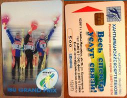 Russia - 500 (matrix) IBU Grand Prix (2) 3 Skier, 500U, 40,000ex, 2002, Used - Russland