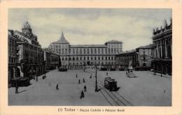 "01326 ""TORINO - PIAZZA CASTELLO E PALAZZO REALE"" ANIMATA, TRAMWAY. CART. POST. SPED. 1917 - Palazzo Reale"