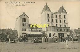 Cpa 29 Le Pouldu, Les Grands Sables, Hotel Des Bains, Charrettes, Calèche, Cabines...., Affranchie 1910 - Le Pouldu