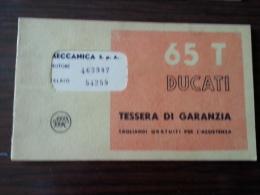 Ducati 65 T Tessera Garanzia E Tagliandi Originale - Genuine Warranty Card - Carte De Garantie - Garantiekarte - Motor Bikes