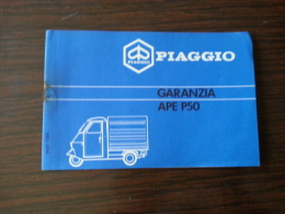 Piaggio Ape 50 Tessera Garanzia E Tagliandi Originale - Genuine Warranty Card - Carte De Garantie - Garantiekarte - Motor Bikes