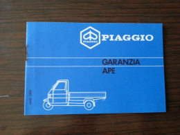 Piaggio Ape '90 Tessera Garanzia E Tagliandi Originale - Genuine Warranty Card - Carte De Garantie - Garantiekarte - Motor Bikes