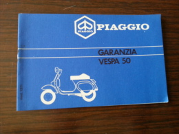 Piaggio Vespa 50 '90 Tessera Garanzia E Tagliandi Originale - Genuine Warranty Card - Carte De Garantie - Garantiekarte - Motor Bikes