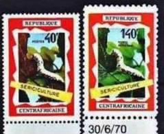 CENTRAFRIQUE Papillons + Sericulture, Butterflies, Mariposas Yvert 131 + Pa 86. ** MNH - Non Classés