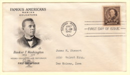 USA SC #873 FDC  1940 Famous Americans / Educators / Booker T. Washington W/fading (from Enclosure), CV $10.00 - First Day Covers (FDCs)