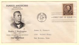 USA SC #873 FDC  1940 Famous Americans / Educators / Booker T. Washington W/fading (from Enclosure), CV $10.00 - 1851-1940