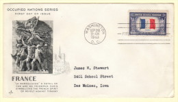 USA SC #915 FDC  1943 Occupied Nations / France W/crimp @ LR CNR - First Day Covers (FDCs)