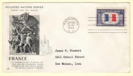 USA SC #915 FDC  1943 Occupied Nations / France W/crimp @ LR CNR - 1941-1950