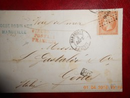 UU_03_rare Nuance Sur N°16 Et Cachet Rouge: PIROSCAFI POSTALI FRANCESI Et Voie De Mer Pour Gene De Marseille .superbe! . - 1849-1876: Periodo Classico