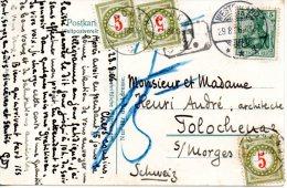 SUISSE. Carte Postale De L´Allemagne Pour La Suisse De 1906. Lettre Taxée. - Taxe