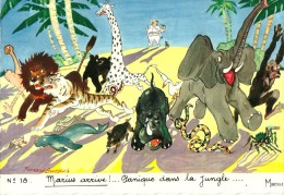 HUMOUR MARSEILLAIS  18 MARIUS ARRIVE PANIQUE DANS LA JUNGLE LION GIRAFE   ILLUSTRATEUR FERNAND BOURGEOIS  EDIT. MIREILLE - Humour