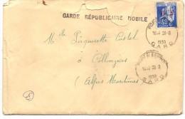 GARDE REPUBLICAINE MOBILE . . PONT ST ESPRIT. TIMBRE FM - Marcophilie (Lettres)
