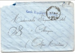 GARDE REPUBLICAINE MOBILE . . PONT ST ESPRIT.  FM - Marcophilie (Lettres)