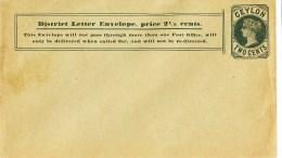 Ceylon, Cover, Sobre, Two Cents - Territorio Británico Del Océano Índico