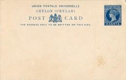Ceylon, Post Card,  5  Cents, Ceylan - Territorio Británico Del Océano Índico