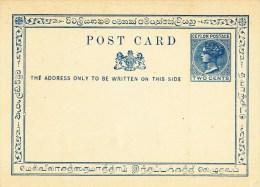 Ceylon, Post Card,  Two  Cents, Ceylan - Territorio Británico Del Océano Índico