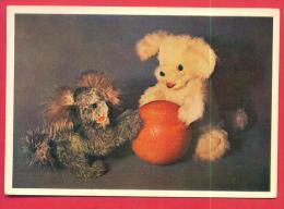166727 / DOLL DEDDY BEAR DND DOG , BALL By GALYA SAMKOVA ( 15 YEAR ) - LENINGRAD Russia Russie Russland Rusland - Spielzeug & Spiele