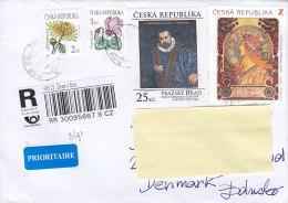 Czech Republic Prioritaire & Registered  Recommndé Einschreiben Labels ZELEZNY BROD 2014 Cover Brief To Denmark - Tschechische Republik