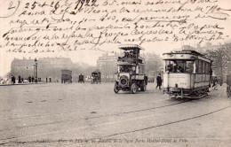 Cpa  75  Paris 8eme , Place De L'toile , Un Autobus De La Porte Maillot Et Le Tram - Arrondissement: 08