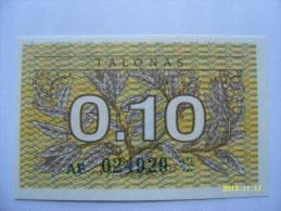 BANCONOTE   LITUANIA  0,10  TALONAS   FIOR DI STAMPA - Lituania