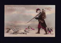 Guerre 1914-1918 - Français Franchissez La Frontiere .... Boches Par Terre ( Patriotique Enfant Soldat Poilu Figurines - Patriotiques