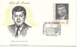 JOHN FITZGERALD KENNEDY TARJETA PRIMER DIA DE EMISION FIRST DAY CARD REPUBLICA ARGENTINA ABRIL DE 1964 - Kennedy (John F.)