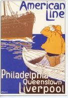 American Line Philadelphia Queenstown Liverpool  (paquebot Barque Pêcheur)  H. Cassiers Illustrateurs - Paquebots