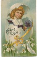 Surrealisme Petite Fille Sortant D Un Oeuf De Paques Easter Perce Neige - Pâques
