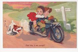 """Cpa Kitty Série Moto Motard Et Chien Couple """"plus Vite Il Est Enragé"""" - 1900-1949"""