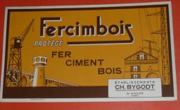 Rare Ancien BUVARD Publicitaire Illustré, Pub FERCIMBOIS Protège Fer Ciment Et Bois, Bygodt à St-André 59 - Buvards, Protège-cahiers Illustrés
