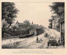Image De Gravure - Bruxelles - Construction Pont De Vilvoorde (verso:  Marie De Bourgogne Octroi Canal Escaut) - Oude Documenten
