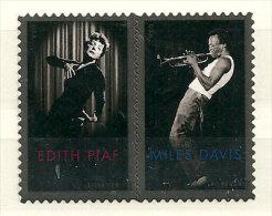 Edith Piaf & Miles Davis (Trompettiste De Jazz)  Emission Commune Etats-Unis-France.  2 T-p Neufs ** Se-tenant - Etats-Unis