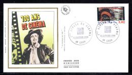 FRANCE FDC N° 2922 1er Siecle Du Cinéma Bobine Et Tête D´indien Oblitération 14 Janvier 1995 Lyon - 1990-1999