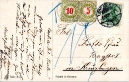SUISSE. Carte Postale De L'Allemagne Pour La Suisse De 1909. Carte Taxée. - Taxe