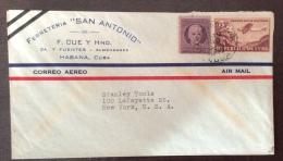 "CUBA - FERRETERIA ""SAN ANTONIO"" HABANA  - 1949 -  AEROGRAMMA CON 3+5 C.PER NEW YORK - Cuba"