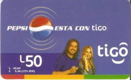 TARJETA DE HONDURAS DE 50 LEMPIRAS  DE TIGO  - PEPSI  (COLA-COKE) - Honduras