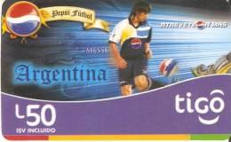 TARJETA DE HONDURAS DE 50 LEMPIRAS  DE TIGO  - PEPSI - LEO MESSI - Honduras